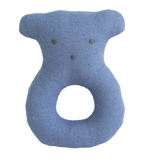 Alimrose Linen Bear Grab Rattle - Chambray Blue