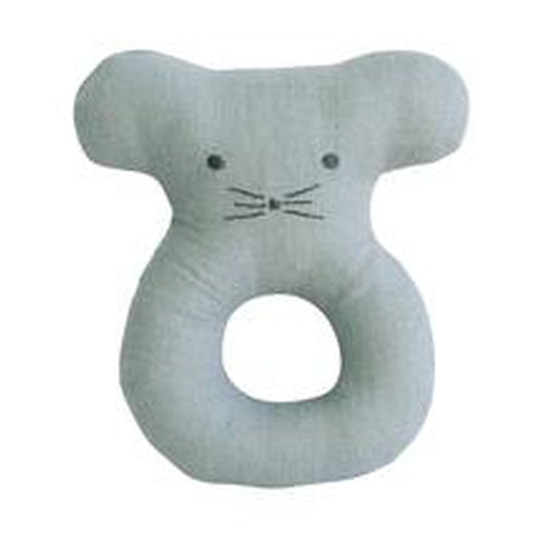 Alimrose Linen Mouse Grab Rattle - Grey-Jack & Willow