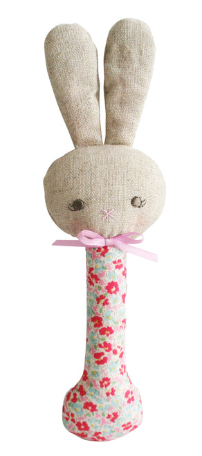 Alimrose Rosie Bunny Stick Rattle - Sweet Floral