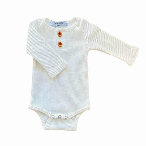 Pamelia Baby Long Sleeve Onesie - Milk