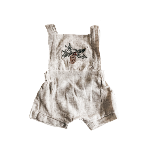 Piper Bug Christmas Linen Romper Pine Cone-Jack & Willow