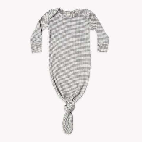 Quincy Mae Ribbed Knotted Baby Gown - Eucalyptus Stripe