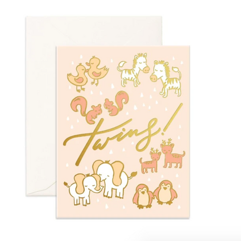 Fox & Fallow Twins Baby Card