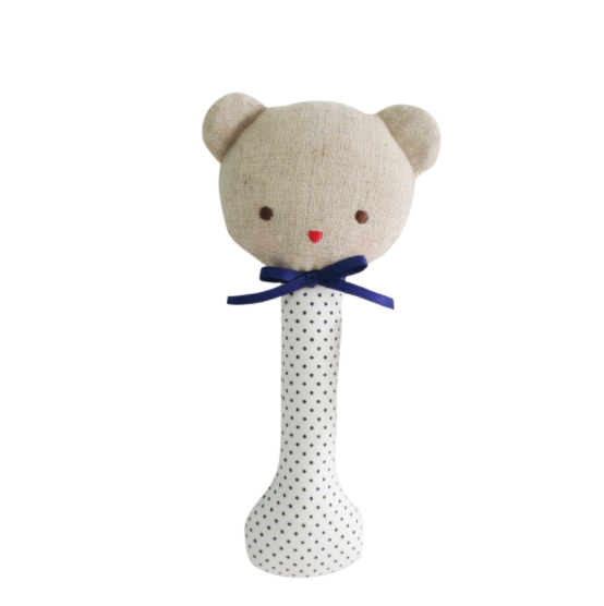 Alimrose Baby Bear Stick Rattle - Navy Spot