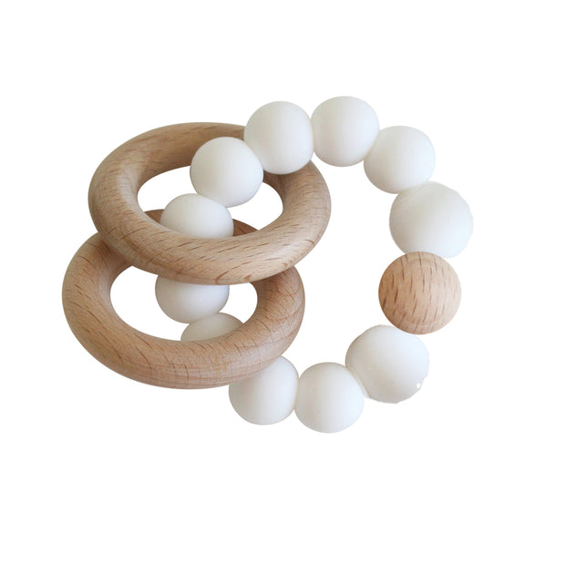 Alimrose Beechwood Teether Ring - Milk