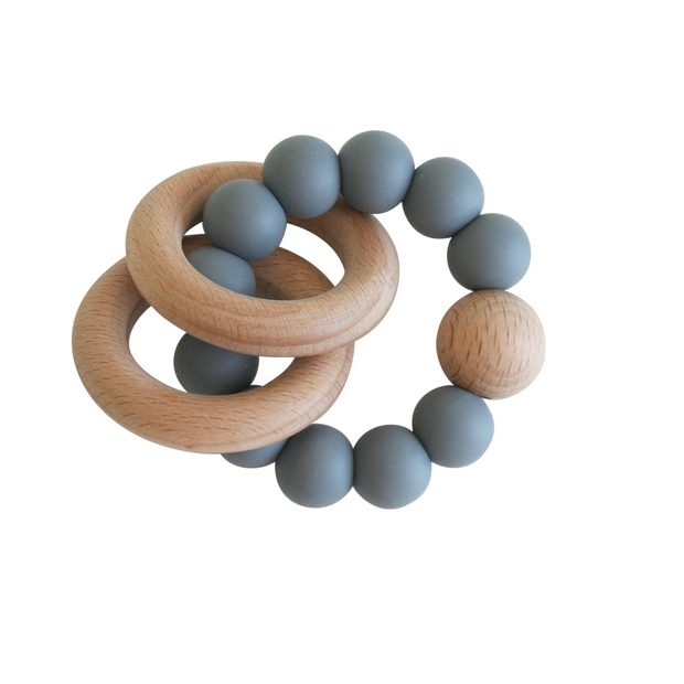 Alimrose Beechwood Teether Ring - Storm Grey