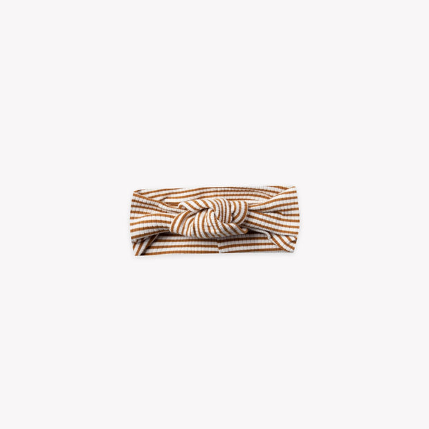 Quincy Mae Baby Ribbed Turban - Walnut Stripe