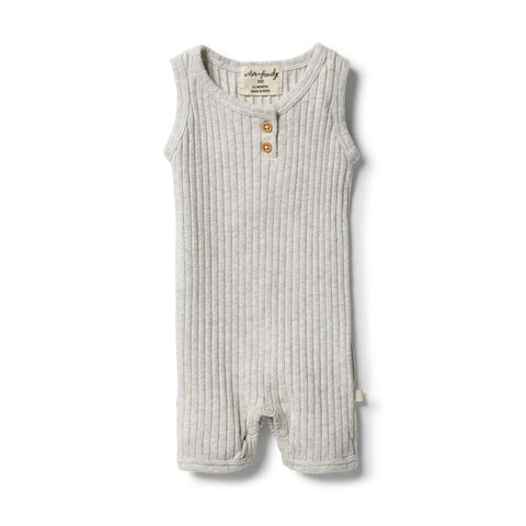 Wilson & Frenchy Organic Rib Growsuit - Grey Marle