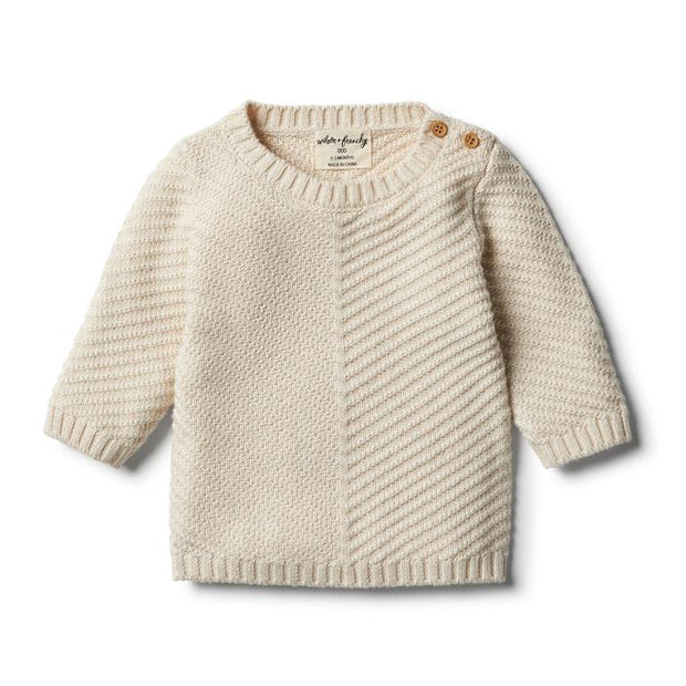 Wilson & Frenchy Knitted Chevron Jumper - Oatmeal