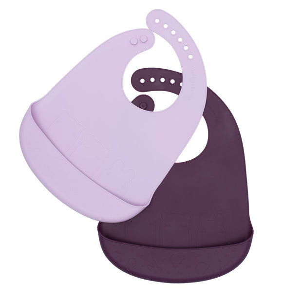 We Might Be Tiny Catchie Bibs - Plum & Lilac