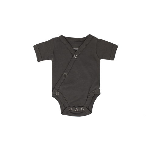 L'oved Baby Organic Short Sleeve Kimono Bodysuit - Gray-Jack & Willow