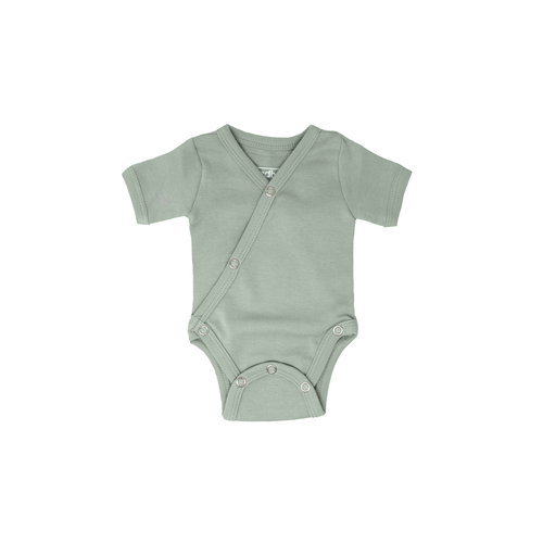 L'oved Baby Organic Short Sleeve Kimono Bodysuit - Seafoam-Jack & Willow