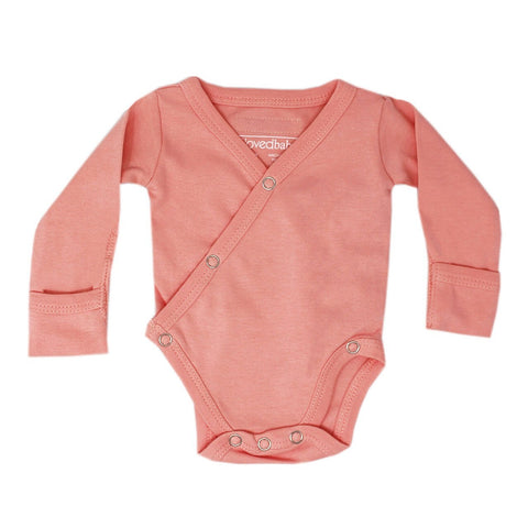 L'oved Baby Organic Long Sleeve Kimono Bodysuit - Coral