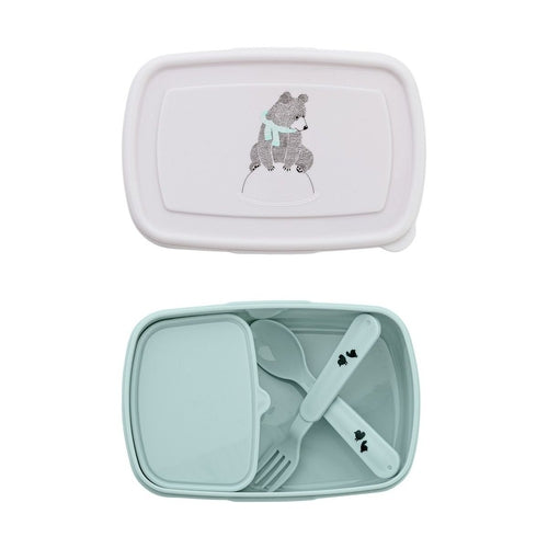 Bloomingville Bear Lunch Box & Cutlery Set - Blue-Jack & Willow