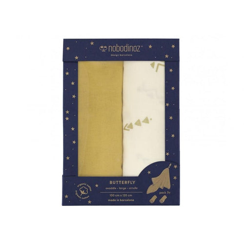 Nobodinoz Butterfly Swaddle 100x 120cm 2 Pack - Mustard Yellow-Jack & Willow
