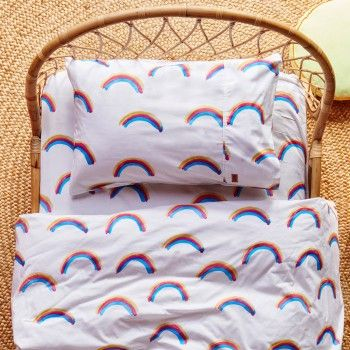 Kip & Co Rainbow Love Fitted Sheet - Bassinet