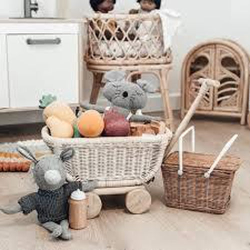 Tiny Harlow Rattan Toy Wagon (LATE SEPTEMBER PRE-ORDER)-Jack & Willow