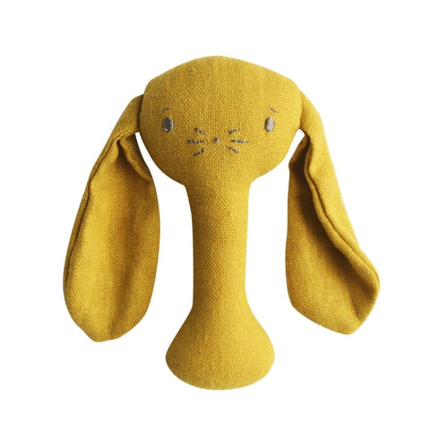Alimrose Bobby Bunny Linen Stick Rattle - Butterscotch-Jack & Willow