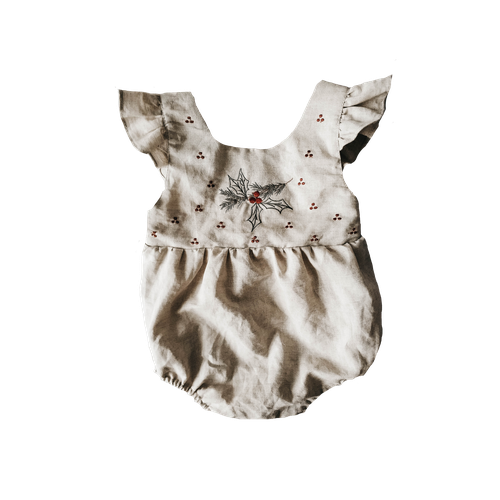Piper Bug Christmas Linen Romper Holly (MID-LATE OCTOBER PRE-ORDER)-Jack & Willow