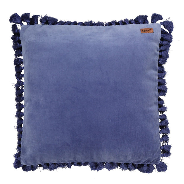 Kip & Co Velvet Tassel Cushion - Marine