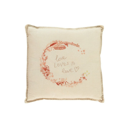 Camomile London Embroidered Love Square Cushion - Peach Pink & Vintage Cream-Jack & Willow