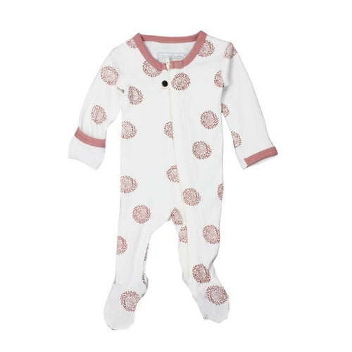 L'oved Baby Organic Mauve Sunflower Footed Overall-Jack & Willow