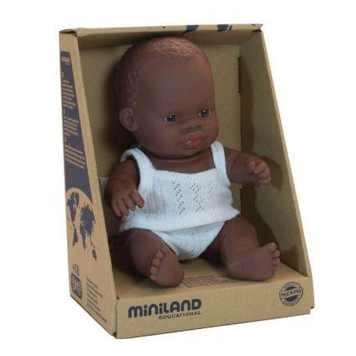 Miniland Baby Doll African Girl - 21cm-Jack & Willow