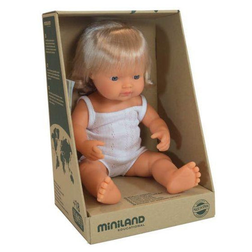 Miniland Baby Doll Caucasian Girl - 38cm-Jack & Willow