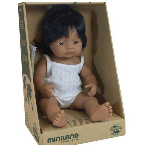 Miniland Baby Doll Latin American Girl - 38cm-Jack & Willow