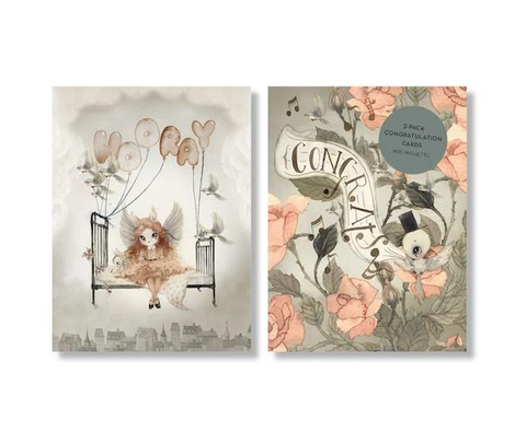 Mrs Mighetto Congrats/Hooray Cards - 2 Pack Roses