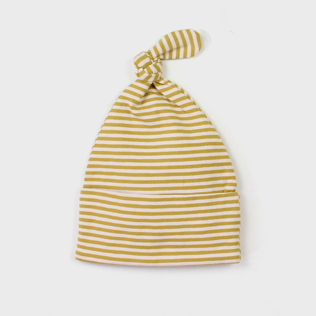 The Rest Organic Knot Beanie - Mustard & Peach Stripe