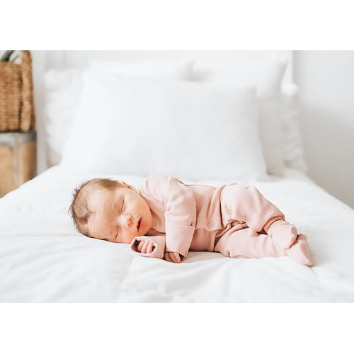 L'oved Baby Organic Footed Overall Growsuit - Mauve-Jack & Willow