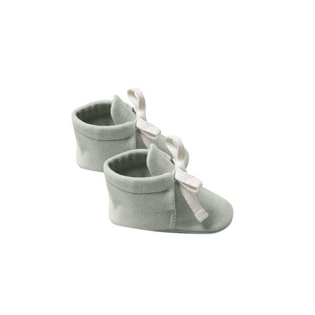 Quincy Mae Baby Booties - Sage with Natural Ribbons