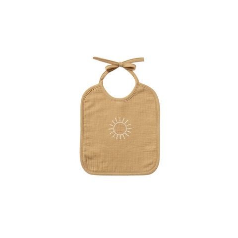 Quincy Mae Woven Tie Bib - Honey