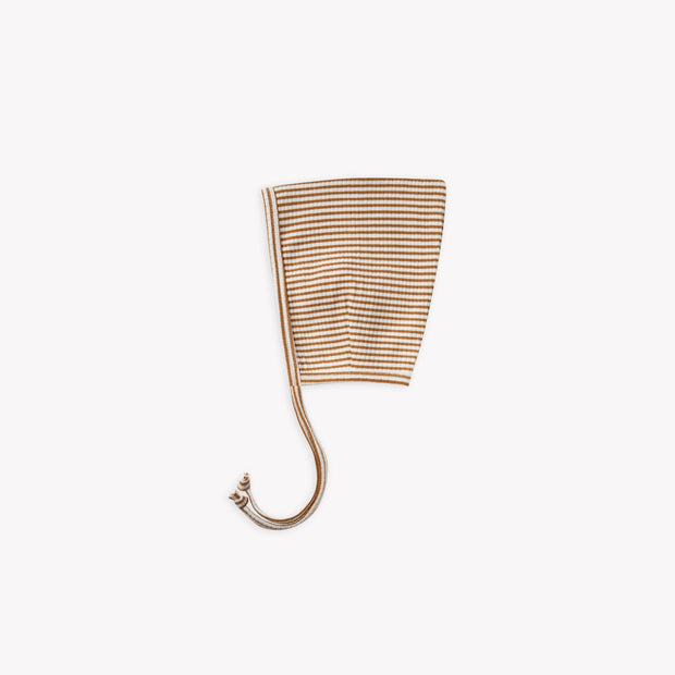 Quincy Mae Ribbed Pixie Bonnet - Walnut Stripe