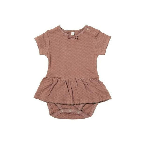 Quincy Mae Pointelle Short Sleeve Skirted Onesie - Clay-Jack & Willow