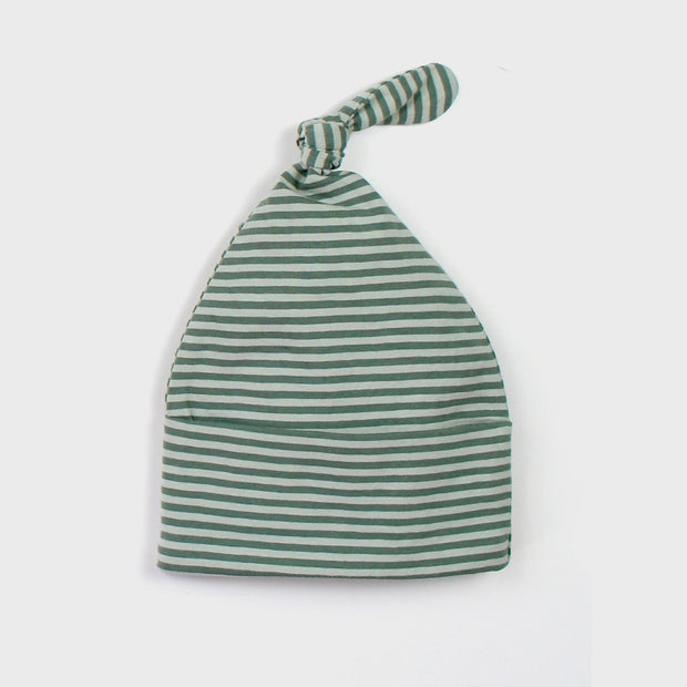 The Rest Organic Knot Beanie - Seafoam Stripe