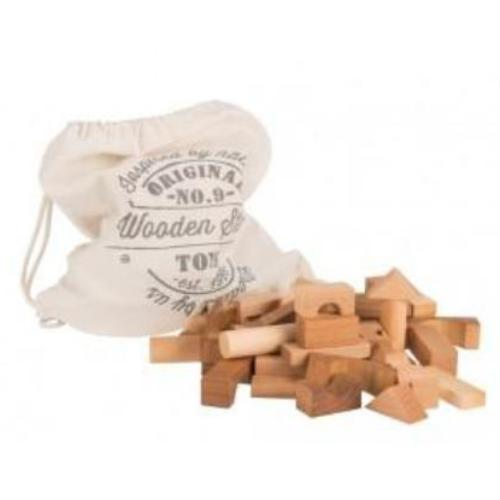 Wooden Story Blocks - Natural in Cotton Sack 100 pcs-Jack & Willow