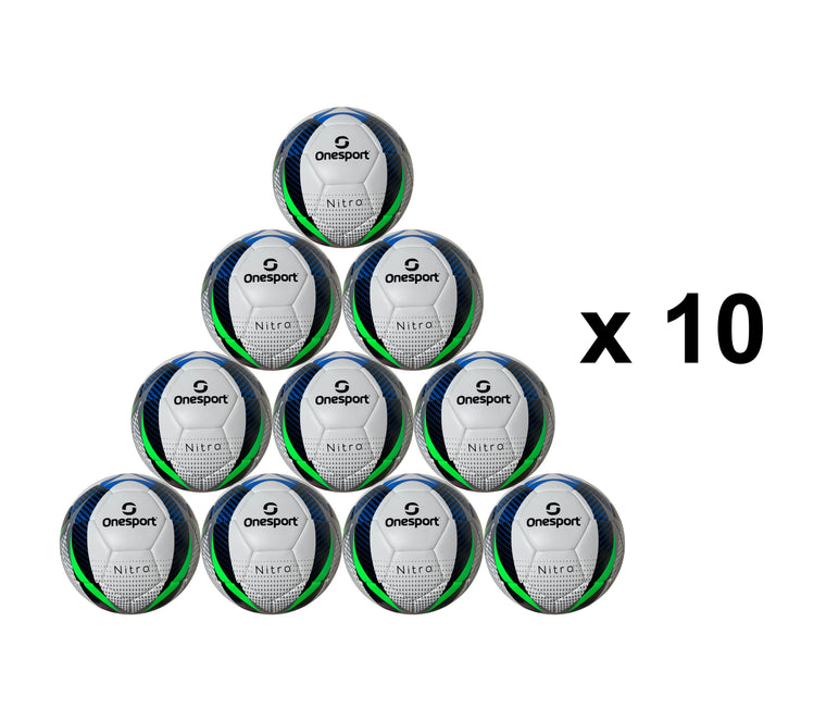 Multi Buy 10 x Onesport Nitro Hybrid Football Size 5 White/Green