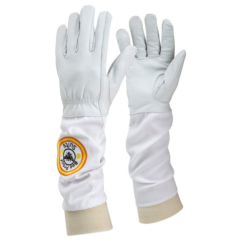Soft White Leather Bee Keeping Gloves with Cotton Gauntlet