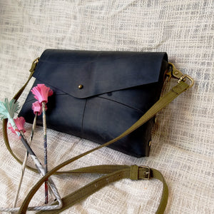 Envelope Vegan Leather Sling Bag - Green The Map Upcycled Recycled Fairtrade Ecofriendly