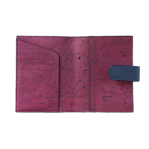 Cedar Passport Wallet - Blue + Maroon - Green The Map Upcycled Recycled Fairtrade Ecofriendly