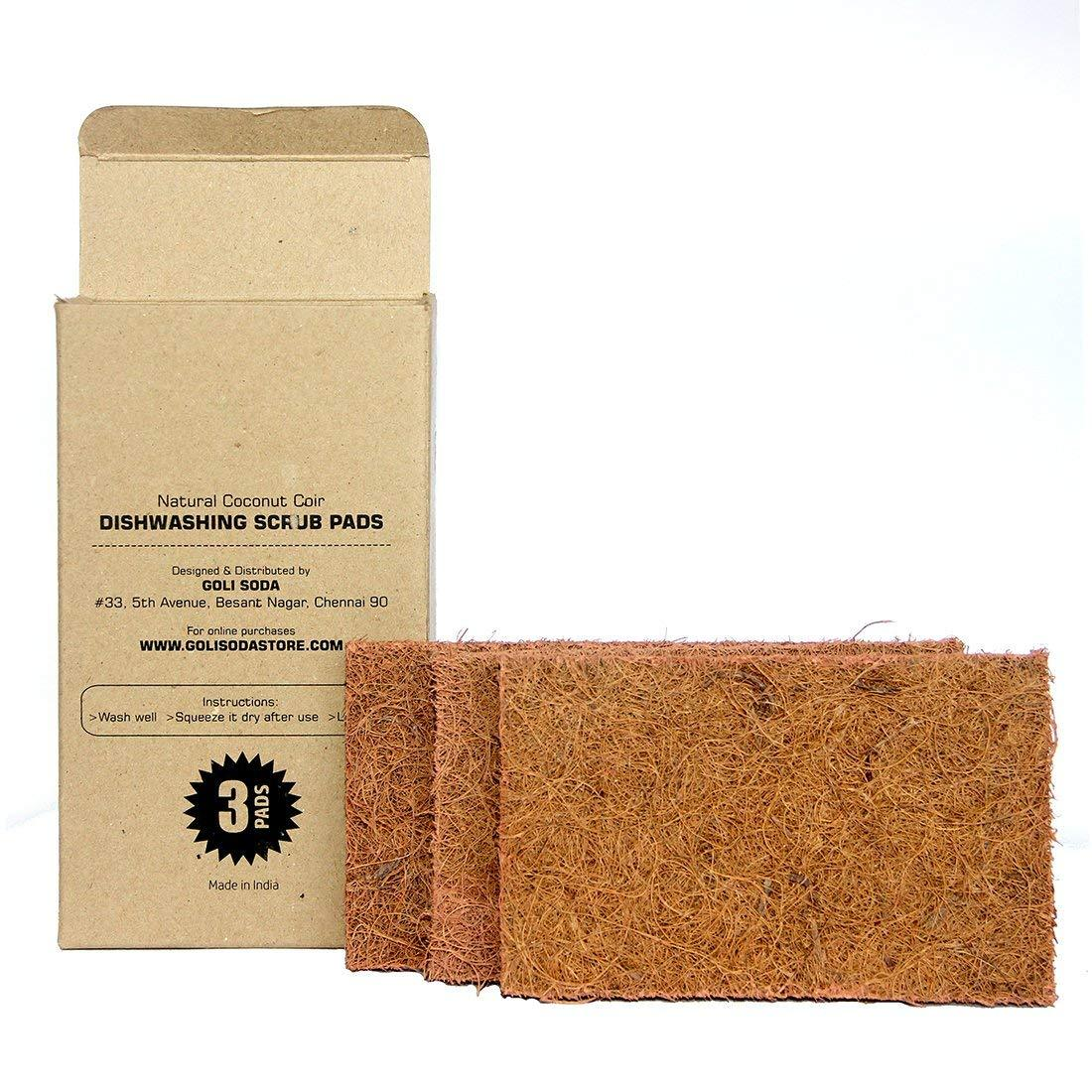 Natural Coconut Coir Dish washing Scrub Pads (Set of3)
