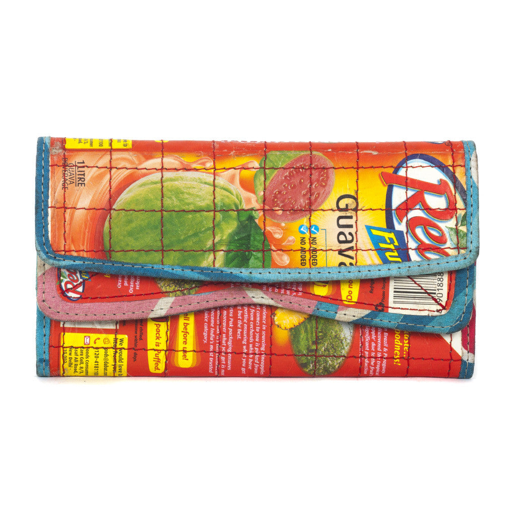 Upcycled Tetra pak Clutch - Green The Map Upcycled Recycled Fairtrade Ecofriendly