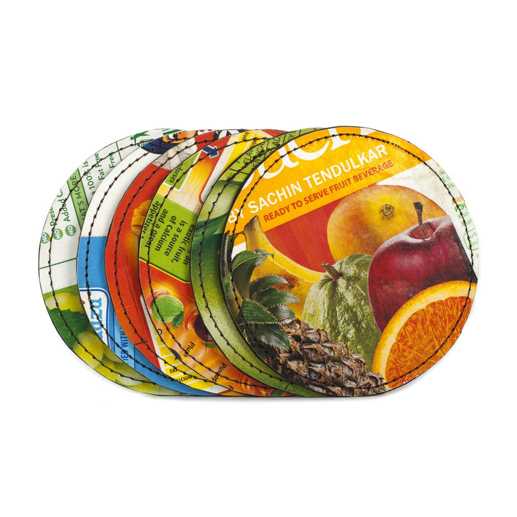 Upcycled Tetra pak Coaster Set (6) - Buy Eco Friendly Products - Upycled, Organic, Fair Trade :: Green The Map