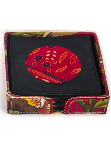 Chai Upcycled cloth Coaster set of (6) with stand