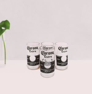 Upcycled  corona glass (set of 4) - Green The Map Upcycled Recycled Fairtrade Ecofriendly