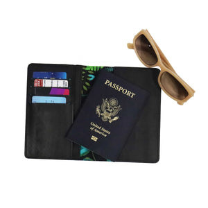 Mystic Flower Passport holder - Green The Map Upcycled Recycled Fairtrade Ecofriendly