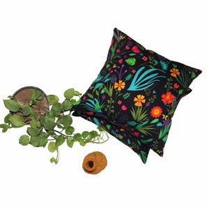Mystic Flower Cushion Cover - Green The Map Upcycled Recycled Fairtrade Ecofriendly