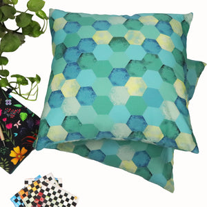 Turq Kaleidoscope Cushion Cover - Buy Eco Friendly Products - Upycled, Organic, Fair Trade :: Green The Map